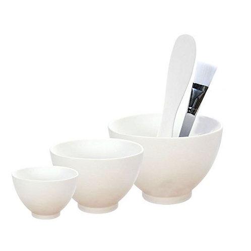Flexible White Rubber Bowl Facial Mask Bowl Silicon mix set with brush & spatula