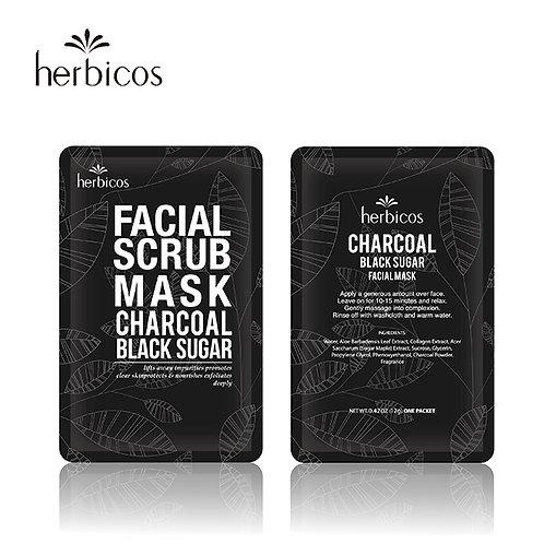 Herbicos Facial Scrub Mask  Charcoal Black Sugar (4-pcs/PVC bag)