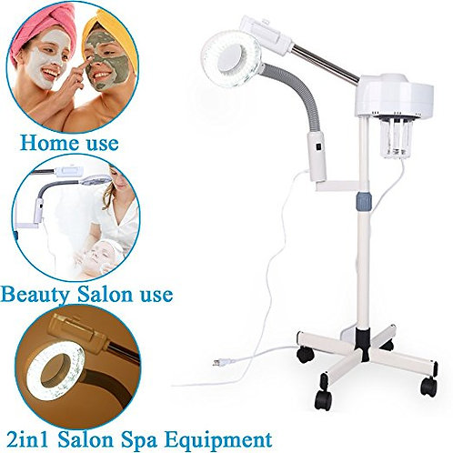 2 in 1 Ozone Facial Steamer with 5x Magnifying 360' Swivel Tabletop Lamp
