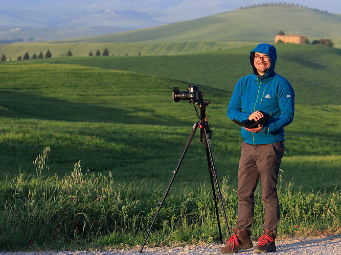 Shooting at sunrise with Dirk in the Orcia Valley, Tuscany