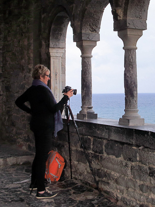 With Nolene at the porch of the church of Portovenere, Italian Riviera
