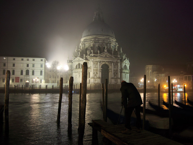 With Vivek during a night shooting session by the Grand Canal, Venice