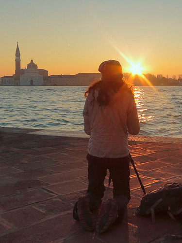 Welcoming the rise of the sun with Amy at Punta Dogana, Venice