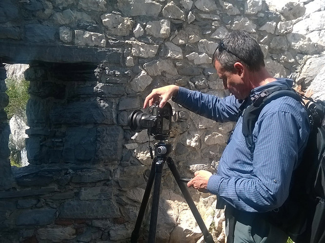 Bill framing a composition at the medieval castle of Portovenere, Italian Riviera