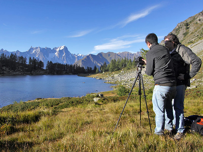 With Roberto at Lake Arpy, Mont Blanc
