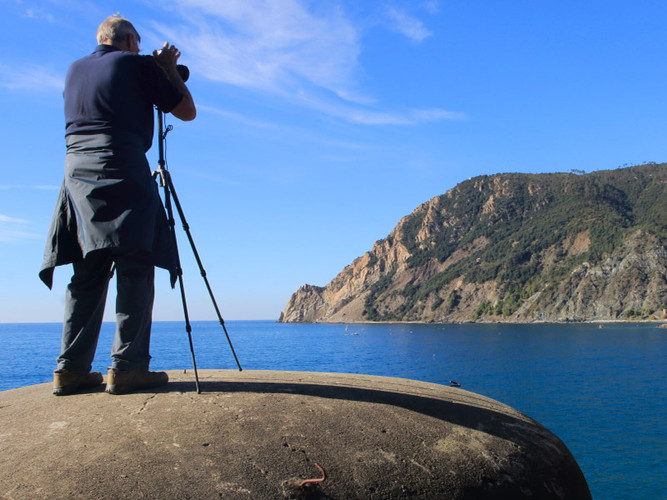 Roger photographing a view of Monterosso, Cinque Terre, from the roof of a world war 2 bunker