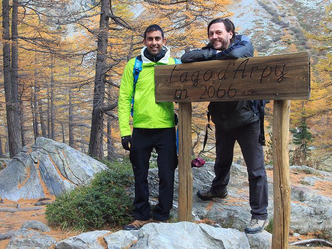 With Vivek at Lake Arpy, Mont Blanc