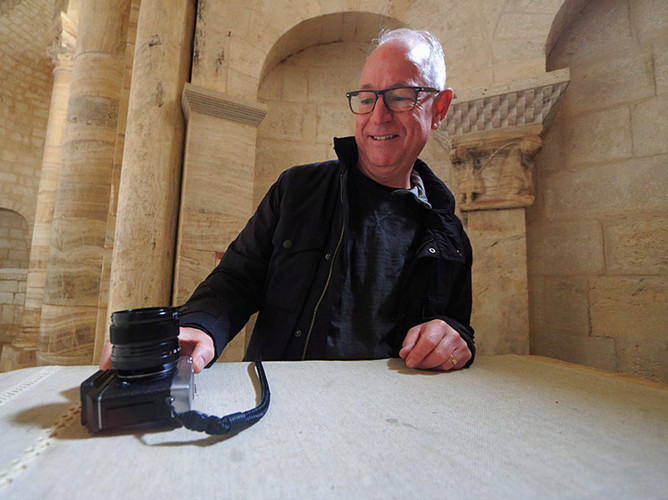 When the tripod is not allowed, everything can become a tripod! With Bruce at Sant'Antimo, Tuscany