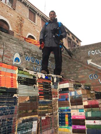 With Vivek at the Libreria Acqua Alta in Venice, probably the craziest bookshop in the world