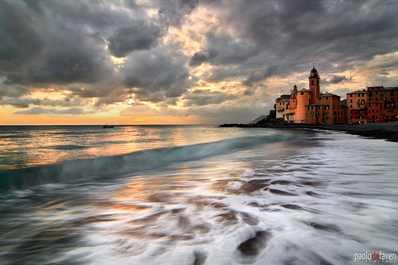 Sunset_Surf_Beach_Camogli_Liguria_Italy.