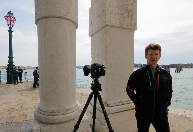 Aubra and its Cambo WRS monster camera at Punta Dogana, Venice