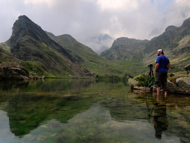 With James at Lake Fiorenza, Monviso, Western Alps
