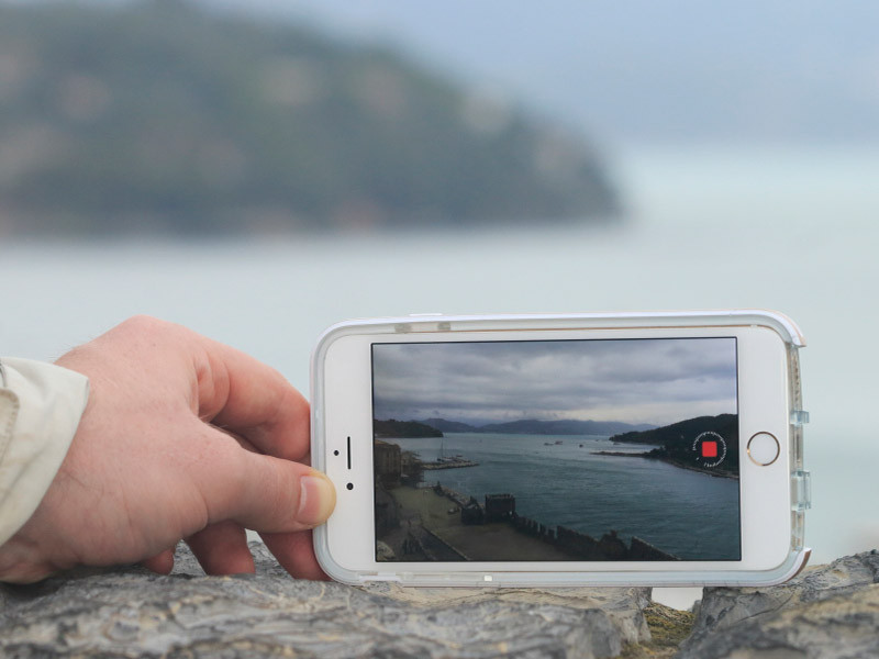 Ian shooting a timelapse with his phone in Portovenere, Italian Riviera