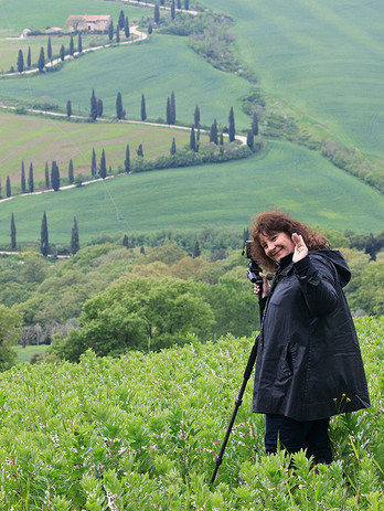 With Kathy at La Foce, Tuscany, photographing the most famous zig-zagging road in the world
