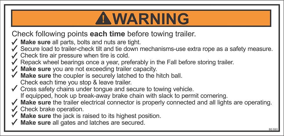 Trailer Towing Checklist, Decal, Label, Sticker