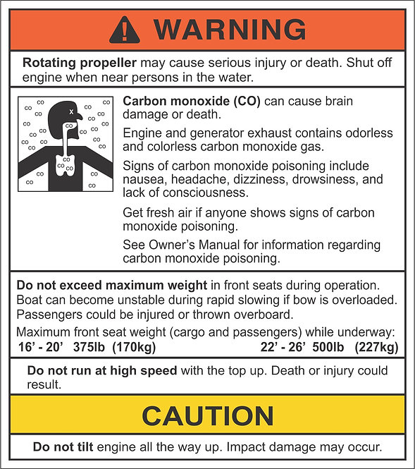 Carbon Monoxide Warning Decal With Propeller Warning