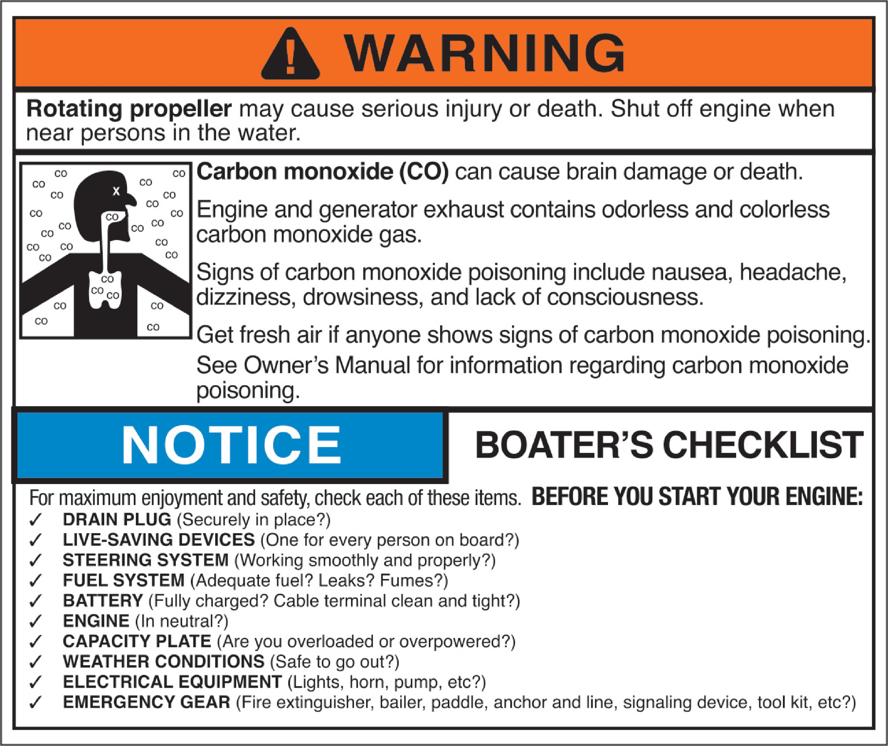 Marine Carbon Monoxide Warning