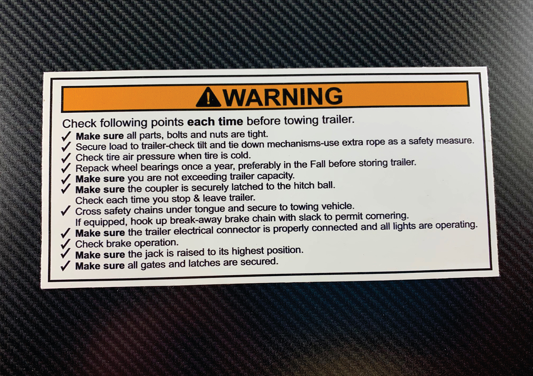 trailer towing checklist decal on dark b