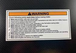 trailer towing checklist decal on dark b