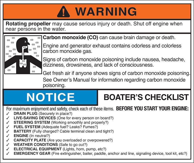 Carbon Monoxide Warning With Boater's Checklist Aluminum Tag