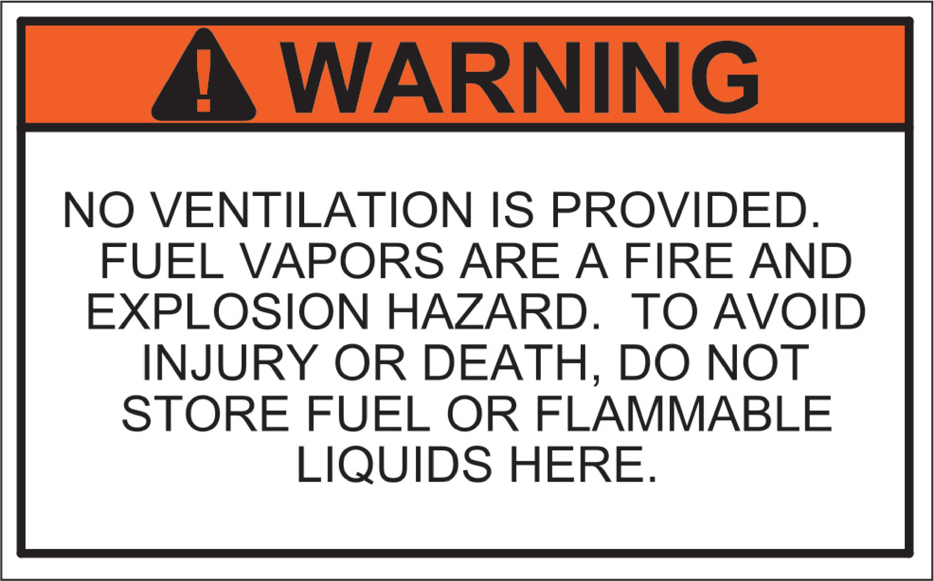 Marine No Ventilation Warning Label