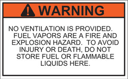 Marine No Ventilation Warning Label