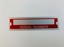 blank red serial number tag plate