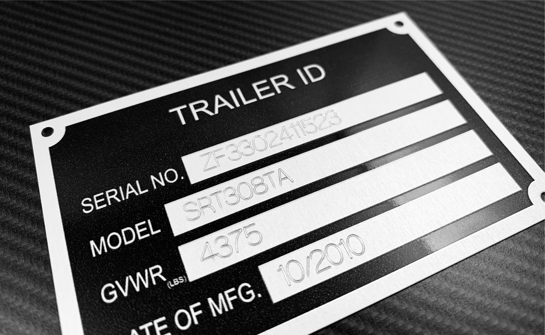 Trailer ID Identification Tag Plate