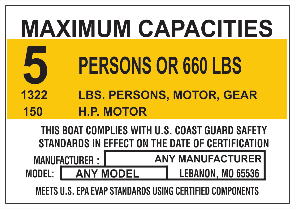 Marine Capacity Decal Plate Tag