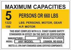 Marine Capacity Decal Plate Tag