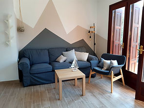 The living room in Gattzeas ways a family beach house in Pelion
