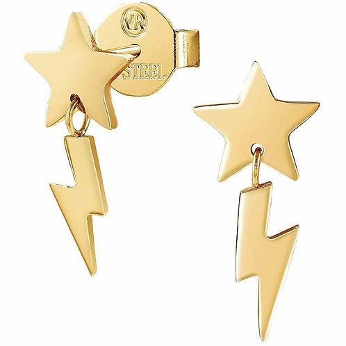 Brincos Stardust Mix Comprido Aço Dourado