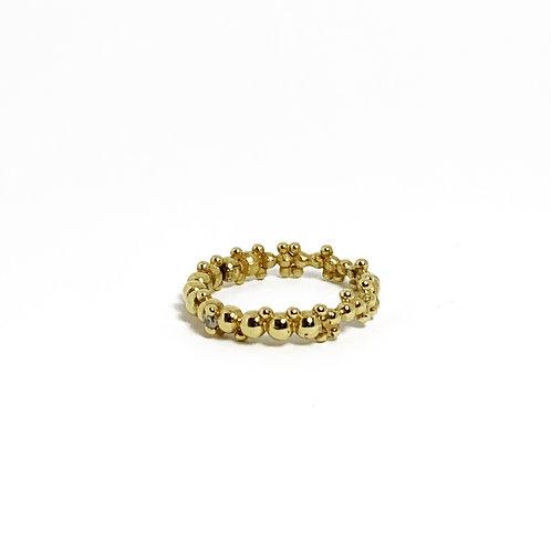 Anel Prata Dourada Bubbles Pequeno
