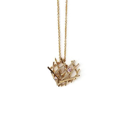 Colar Prata Dourada Nest Coração