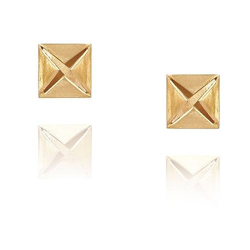 Brinco Prata Dourada Origami Stud