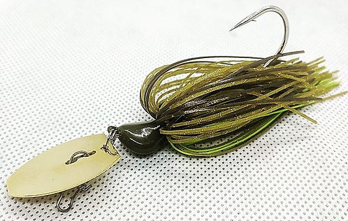 Flirt Skirts Fishing Bladed Jig*  Color: Mean Greene 3/8oz.