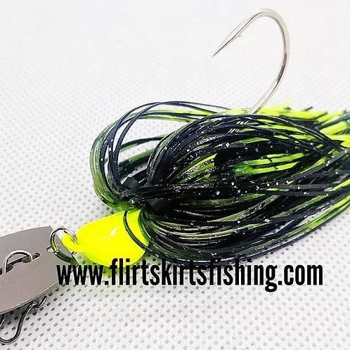 Flirt Skirts Fishing Bladed Jig*  Color: Green Donkey 3/8oz.