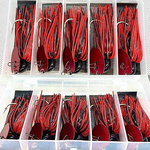 Flirt Skirts Fishing Bladed Jig Special (Free Plano Box:) 5pk. Hype Craw 2.0