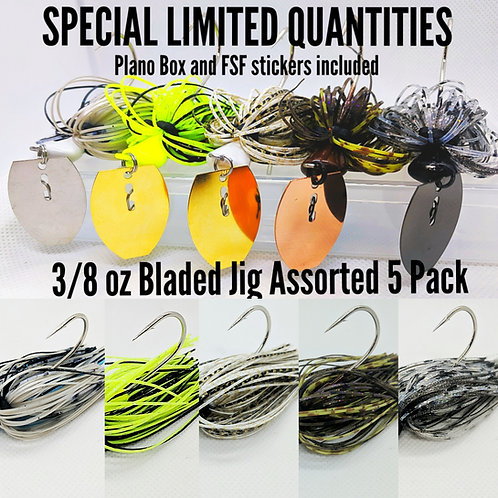 Flirt Skirts Fishing Bladed Jig Assorted Special (Free Plano Box:) 5 Jigs 3/8oz.