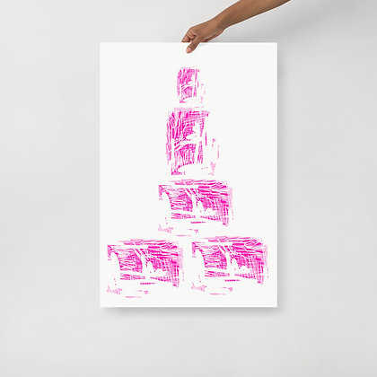 """Pink """"Can"""" Stacks Print 