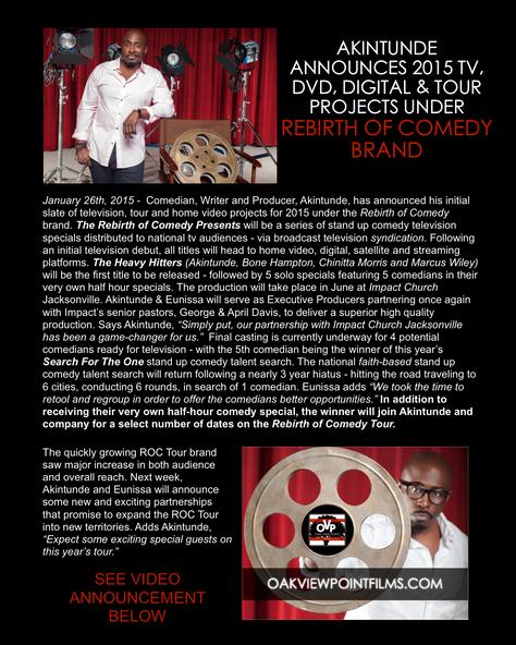 Akintunde announces 2015 TV, DVD, DIGITAL & TOUR projects