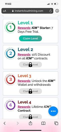instantcloudmining app rewards tab mobile screenshot