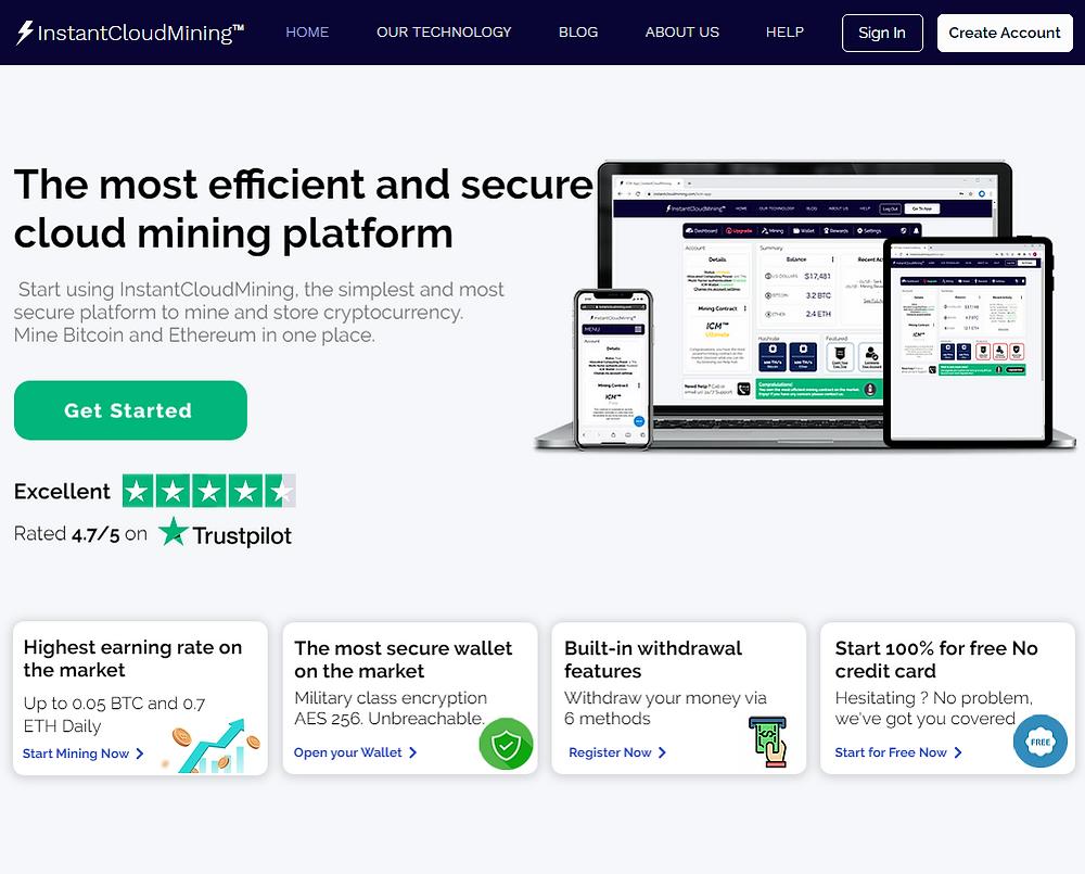 InstantCloudMining Website