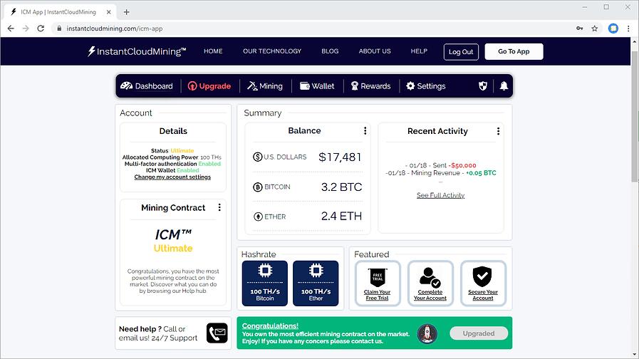 ICM Bitcoin Mining Software Dashboard