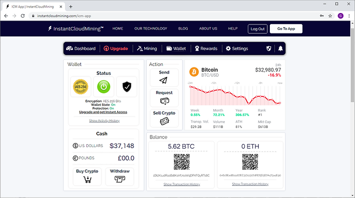 Our Bitcoin Cloud Mining Software Wallet Tab
