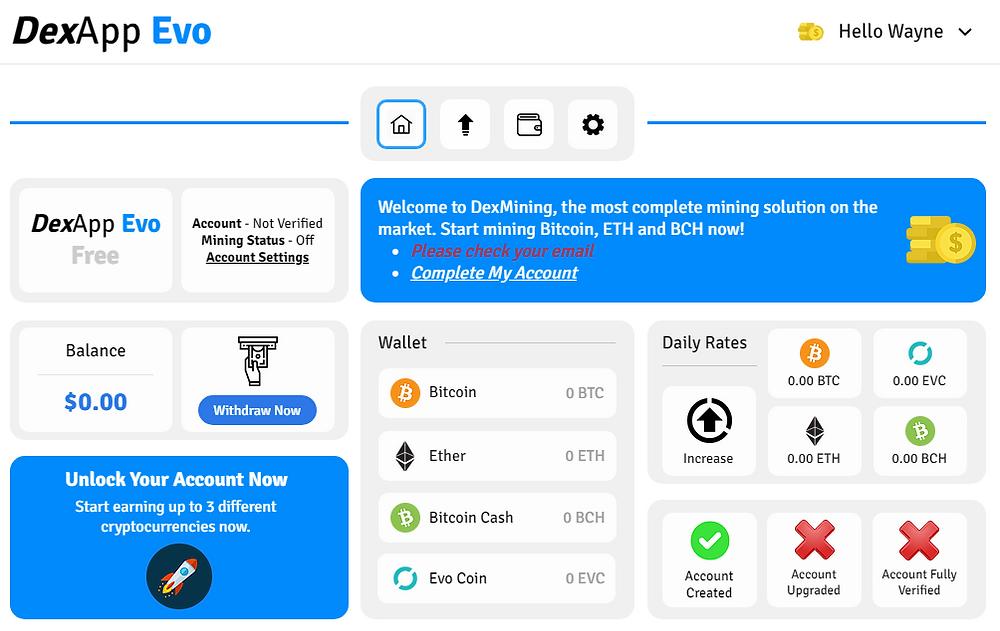 DexApp Evo User Interface