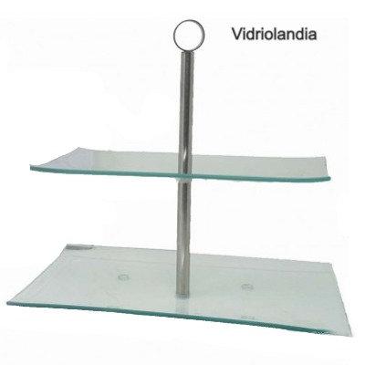 Porta masas 2 pisos Vidrio Rectangular