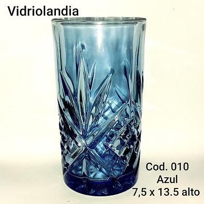 Vaso color Azul trago largo . Cod.010