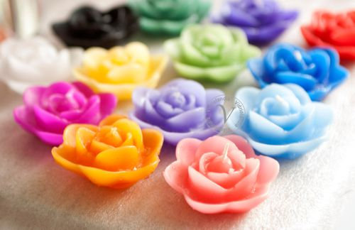 Velas flor, flotantes x 3