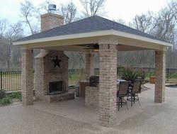 Outdoor backyard pergola construction